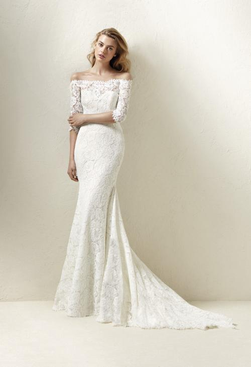 Trouwjurk Boothals.3 4 Mouwen Trouwjurken Valkengoed Wedding Fashion